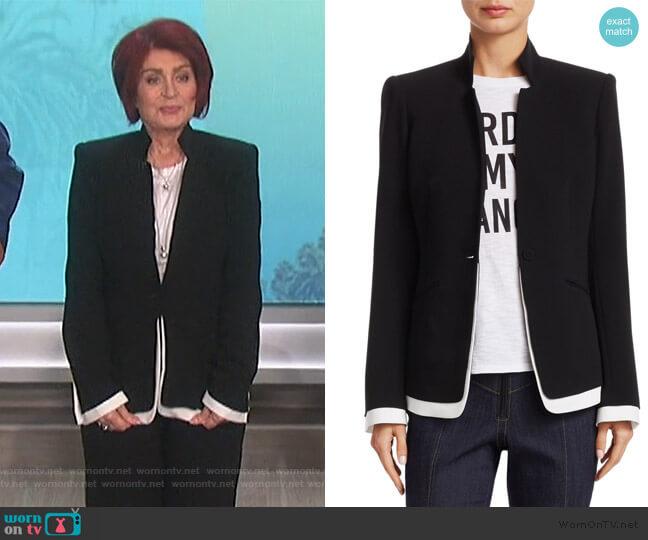 Maxine Contrast Trim Blazer by Cinq a Sept worn by Sharon Osbourne  on The Talk
