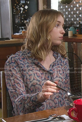 Clare's blue printed blouse on Younger
