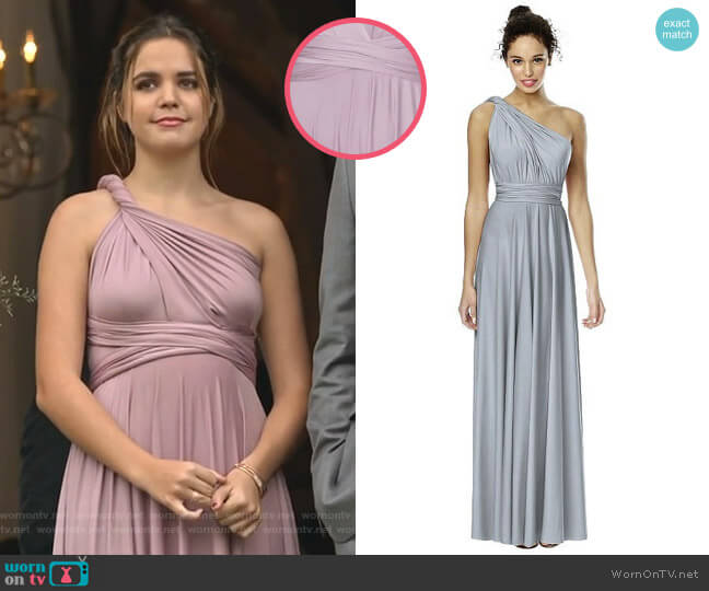 Convertible Wrap Tie Surplice Jersey Gown in Suede Rose by Dessy Collection worn by Grace Russell (Bailee Madison) on Good Witch