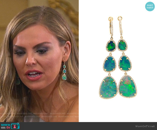 Black Opal & Diamond Halo Dangle Earring by Dilamani worn by Hannah Brown  on The Bachelorette