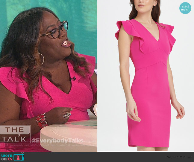 V-Neck Scuba Crepe Sheath Dress by DKNY worn by Sheryl Underwood  on The Talk