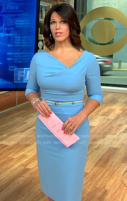 Dana's blue asymmetric neck dress on CBS This Morning