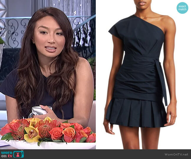 Poplin One-Shoulder Ruffled Mini Dress by Derek Lam 10 Crosby worn by Jeannie Mai  on The Real