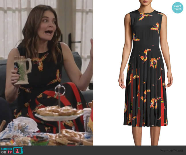 Talita Bird-Print Silk Pleated Sleeveless Dress by Diane von Furstenberg worn by Heather Hughes (Betsy Brandt) on Life in Pieces