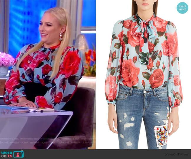 Sheer Rose Print Silk Chiffon Blouse by Dolce & Gabbana worn by Meghan McCain  on The View