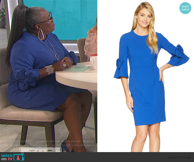Bell Sleeve Crepe Shift Dress w/ Bow Detail at Wrist by Donna Morgan worn by Sheryl Underwood  on The Talk
