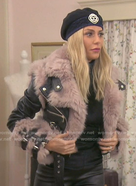 Dorit's shearling and leather jacket on The Real Housewives of Beverly Hills