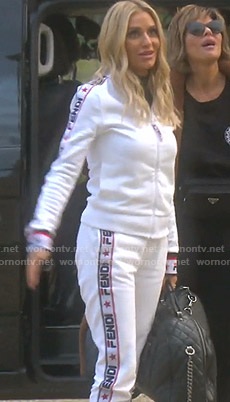 Dorit's Fendi logo print track jacket and pants on The Real Housewives of Beverly Hills