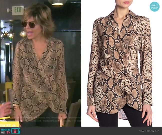 Spread Collar Snakeskin Print Blouse by Dress Forum worn by Lisa Rinna  on The Real Housewives of Beverly Hills