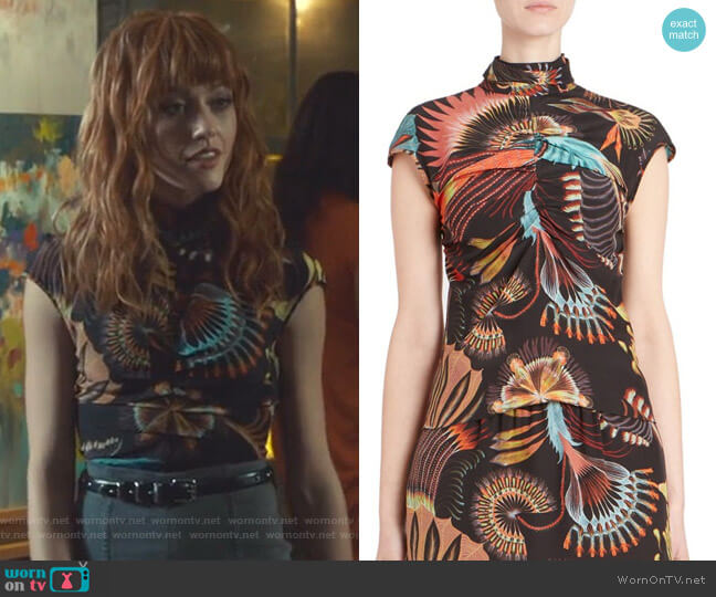 Cap-Sleeve Silk Blouse by Dries Van Noten worn by Clary Fray (Katherine McNamara) on Shadowhunters