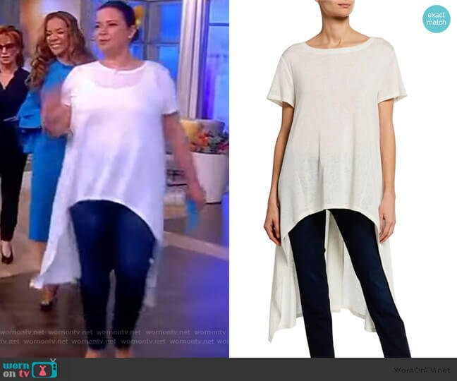 Boat-Neck Short-Sleeve High-Low Slub Tee by Dubgee worn by Ana Navarro  on The View