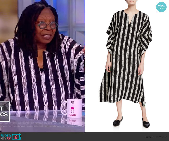 Half Herringbone Striped Long Kimono Dress by Dubgee by Whoopi worn by Whoopi Goldberg  on The View