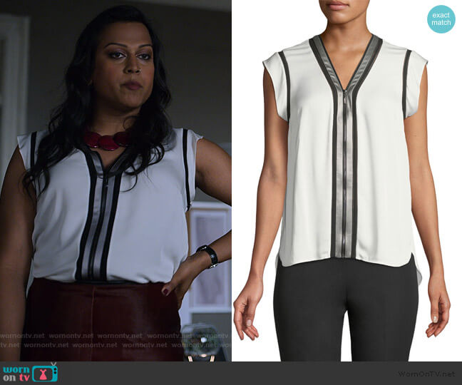 Vallie Zip-Front Silk Blouse by Elie Tahari worn by Aneesh Sheth on Jessica Jones worn by Gillian (Aneesh Sheth) on Jessica Jones