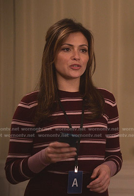 Emily's burgundy striped sweater on Designated Survivor