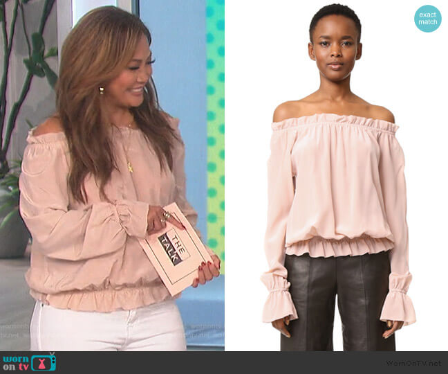 Faye Off Shoulder Blouse by Emerson Thorpe worn by Carrie Inaba  on The Talk