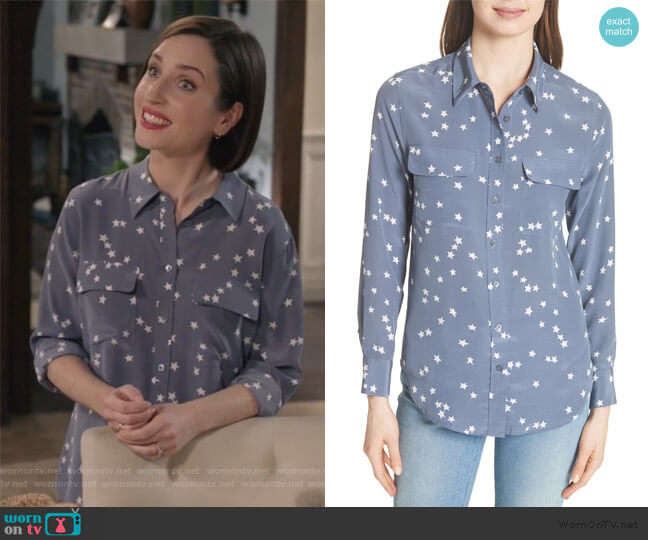 Starry Night Silk Shirt by Equipment worn by Jennifer Short (Zoe Lister-Jones) on Life in Pieces
