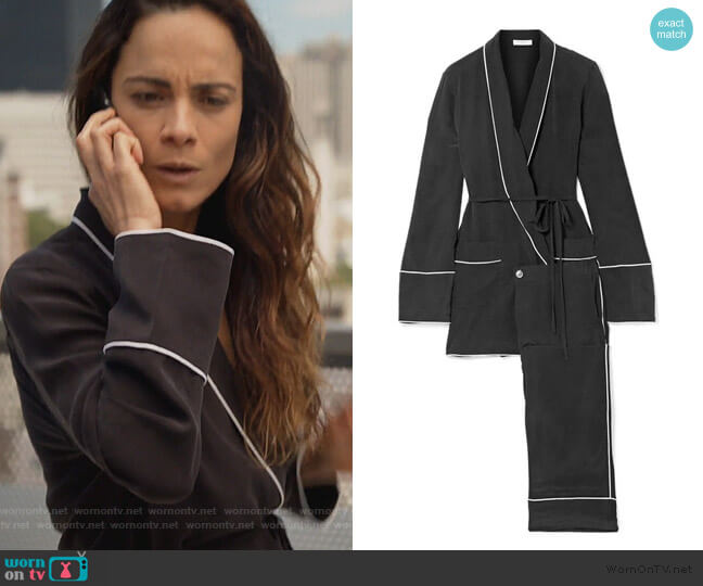 Theron washed-silk pajama set by Equipment worn by Teresa Mendoza (Alice Braga) on Queen of the South