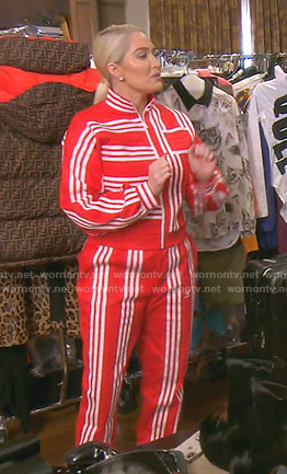 Erika's red striped track jacket and pants on The Real Housewives of Beverly Hills