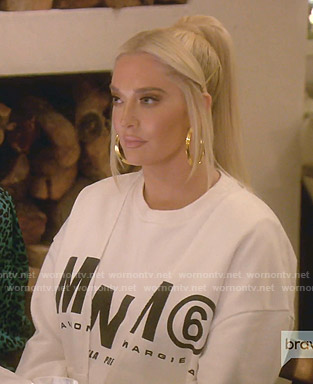 Erika's white MM6 print sweatshirt on The Real Housewives of Beverly Hills