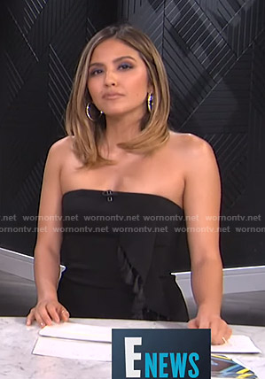 Erin's black strapless dress with tassels on E! News