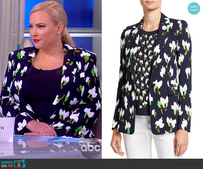 Brikenan Abstract-Floral Print Blazer by Escada worn by Meghan McCain  on The View