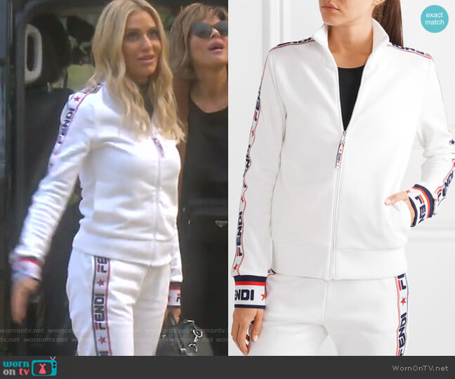 Embroidered Cotton-Blend Jersey Track Jacket by Fendi worn by Dorit Kemsley  on The Real Housewives of Beverly Hills