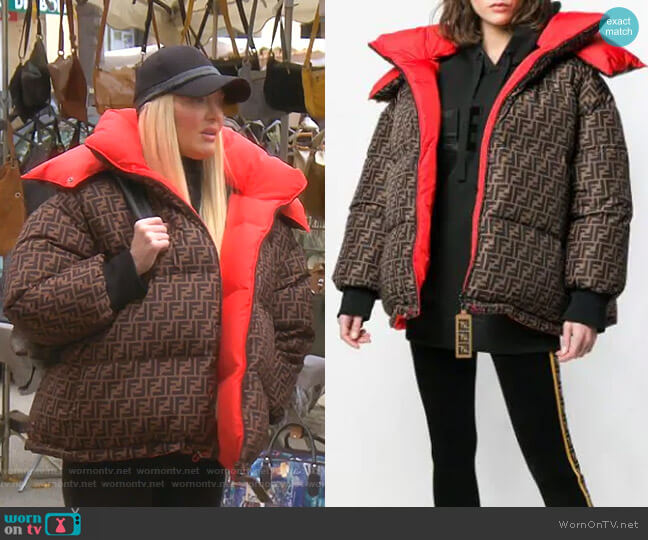 Logo Padded Jacket by Fendi worn by Erika Girardi  on The Real Housewives of Beverly Hills