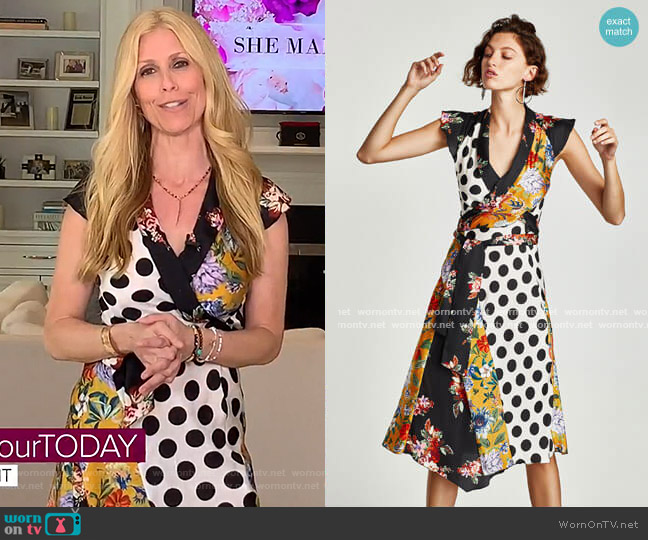 Floral and Polka Dot Patchwork Dress by Zara worn by Jill Martin  on Today