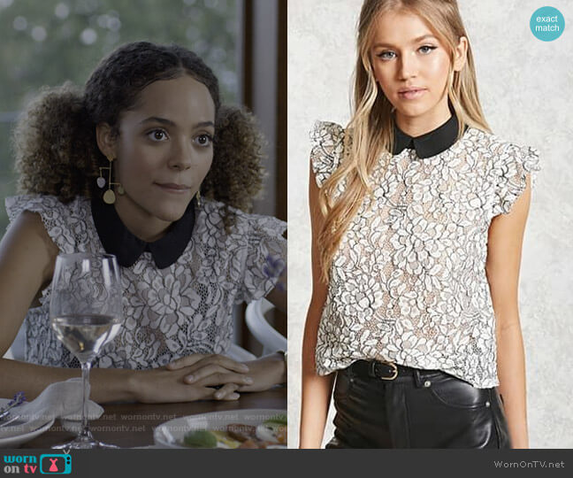 Contrast Collar Crochet Top by Forever 21 worn by Tabitha Foster (Quintessa Swindell) on Trinkets
