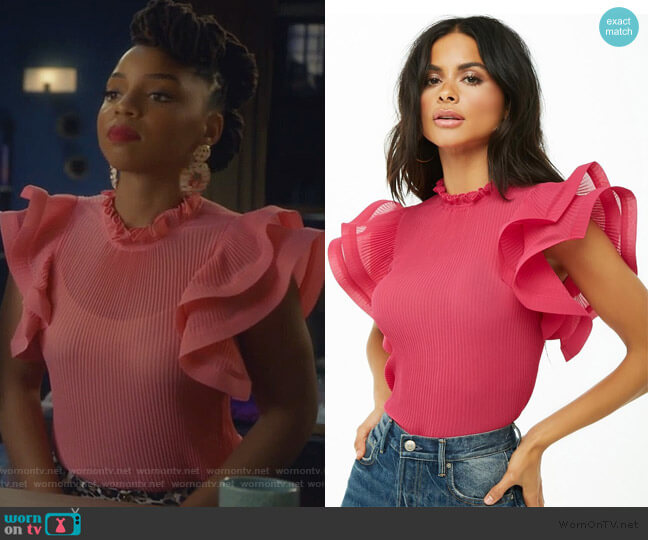 Pleated Ruffled Top by Forever 21 worn by Jazlyn Forster (Chloe Bailey) on Grown-ish