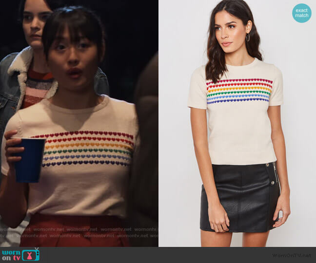 Rainbow Heart Short Sleeve Sweater by Forever 21 worn by Rachelle Cohen-Strauss (Haley Tju) on Trinkets