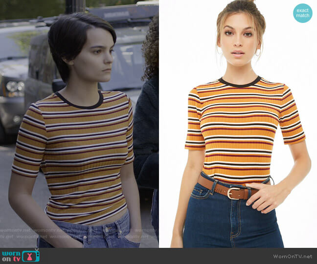Striped Ribbed Tee by Forever 21 worn by Elodie Davis (Brianna Hildebrand) on Trinkets