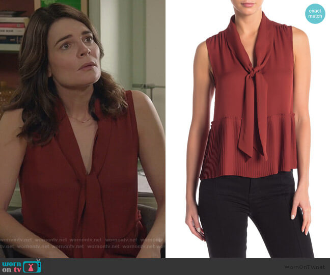 Pleated Front Tie Tank Top by Frame Denim worn by Heather Hughes (Betsy Brandt) on Life in Pieces