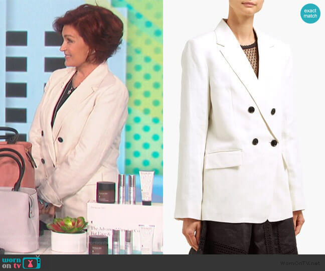 Double-breasted linen-blend blazer by Frame worn by Sharon Osbourne  on The Talk