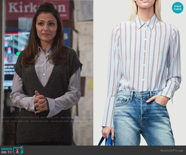 Frame Silk Button-Front Blouse worn by Emily Rhodes (Italia Ricci) on Designated Survivor