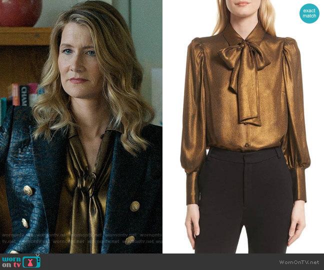 Frame Voluminous Scarf Blouse worn by Renata Klein (Laura Dern) on Big Little Lies