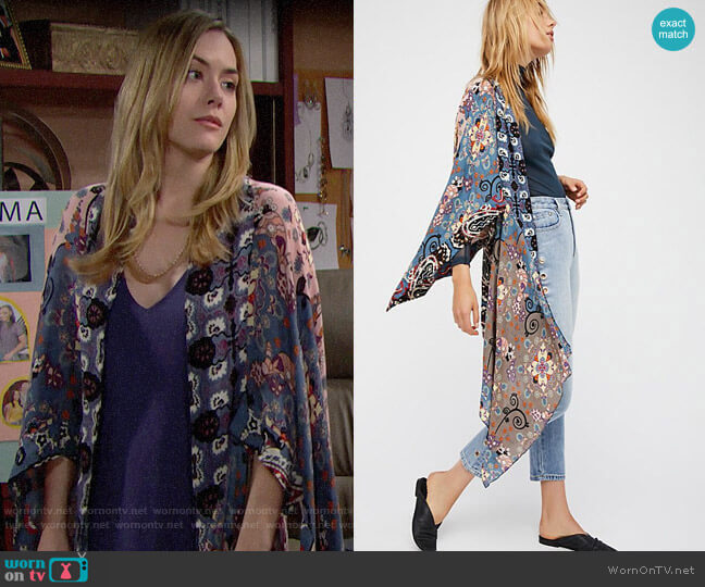 Free People Little Wing Mix Print Kimono worn by Hope Logan (Annika Noelle) on The Bold & the Beautiful