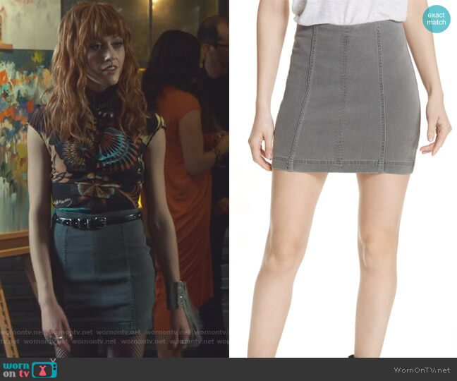 Modern Femme Denim Miniskirt by Free People worn by Clary Fray (Katherine McNamara) on Shadowhunters