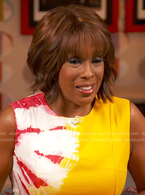 Gayle's yellow tie-dye dress on CBS This Morning