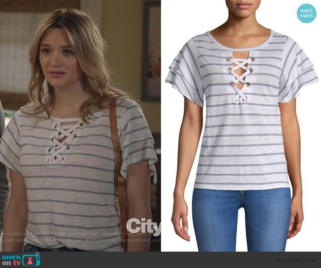 Kiki Lace-Up Stripe Tee by Generation Love worn by Clementine Hughes (Hunter King) on Life in Pieces