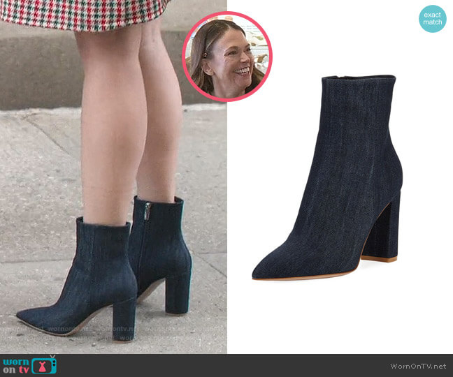 Denim Point-Toe 85mm Boots by Gianvito Rossi worn by Liza Miller (Sutton Foster) on Younger