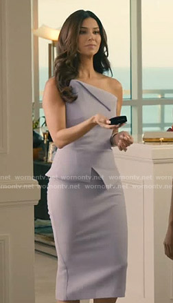Gigi's lilac asymmetric top and skirt on Grand Hotel