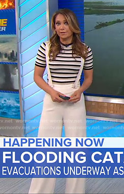 Ginger's striped top and white overalls on Good Morning America