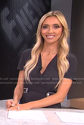 Giuliana's black button detail wrap dress on E! News