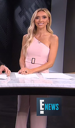 Giuliana's pink one-shoulder belted jumpsuit on E! News