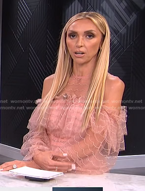 Giuliana's pink ruffled cold-shoulder dress on E! News