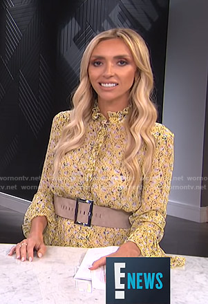 Giuliana's yellow floral ruffled dress on E! News