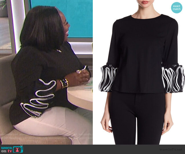 3/4 Sleeve Layered Ruffle Blouse by Gracia worn by Sheryl Underwood  on The Talk