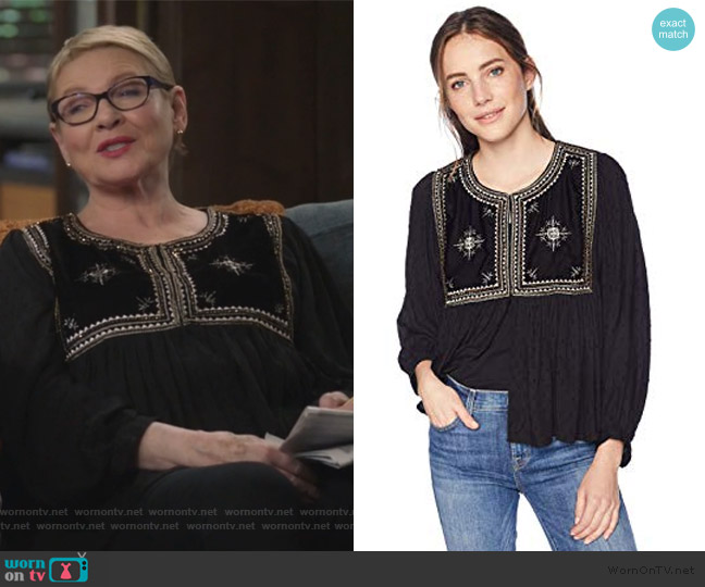 Nixi Holiday Jacket by Velvet by Graham & Spencer worn by Joan Short (Dianne Wiest) on Life in Pieces
