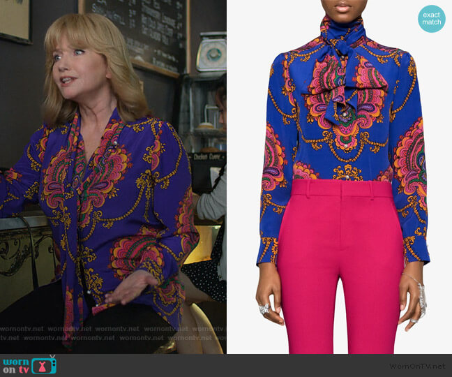 70s graphic print silk shirt by Gucci worn by Dorothy Walker (Rebecca De Mornay) on Jessica Jones